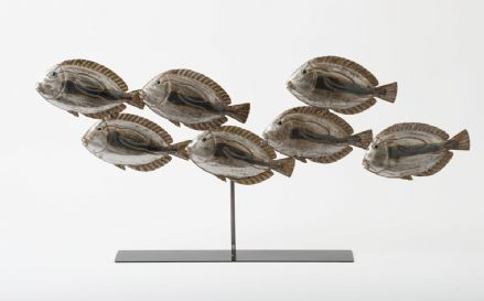 7 Swimming Fish Shoal Metal Contemporary Sculpture on Stand